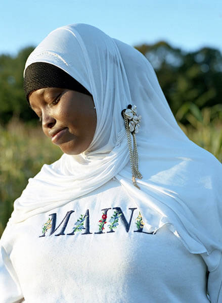Somali Bantu woman wearing a Maine shirt